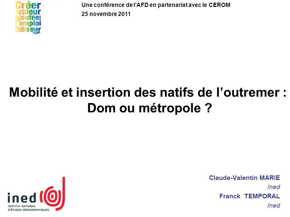 Mobilité et insertion des natifs de loutremer : Dom ou métropole ? Claude-Valentin MARIE Ined Franck TEMPORAL Ined Une conférence de lAFD en partenari