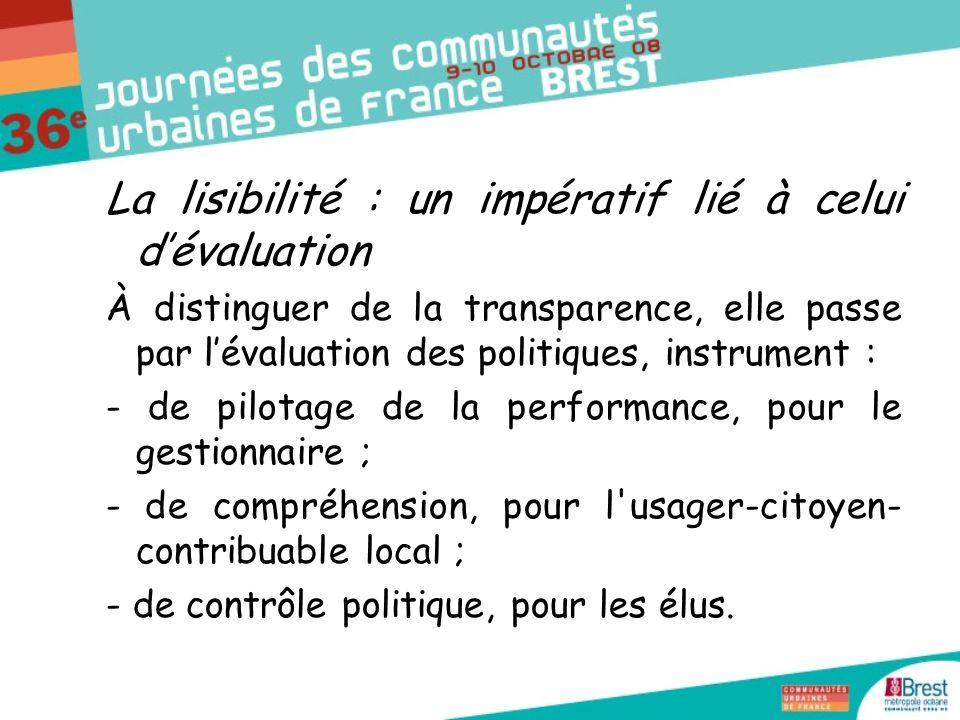 La lisibilité : un impératif lié à celui dévaluation À distinguer de la transparence, elle passe par lévaluation des politiques, instrument : - de pilotage de la performance, pour le gestionnaire ; - de compréhension, pour l usager-citoyen- contribuable local ; - de contrôle politique, pour les élus.