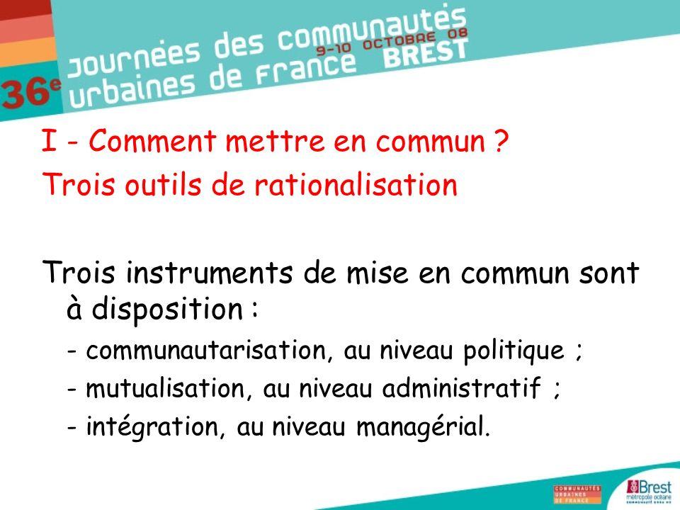 A - Communautariser les compétences : la nécessité dune métropolisation - intensive : dépasser la distinction organique entre proximité (communes) et projet (communauté) par une approche fonctionnelle (« Qui est le mieux placé pour faire .