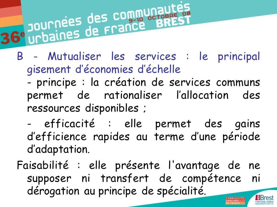 C - Intégrer la gestion : le degré ultime de la recherche de synergies - principe : intégration à la communauté des personnels des services communautaires et communs, mais aussi communaux ; - efficacité : favorise la création dune identité professionnelle.