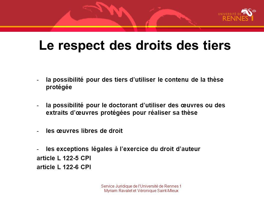 Le respect des droits des tiers -la possibilité pour des tiers dutiliser le contenu de la thèse protégée -la possibilité pour le doctorant dutiliser d