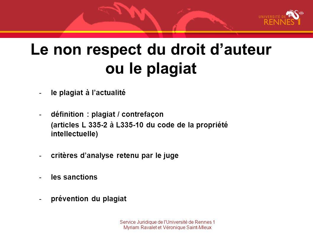 Le non respect du droit dauteur ou le plagiat -le plagiat à lactualité -définition : plagiat / contrefaçon (articles L 335-2 à L335-10 du code de la p