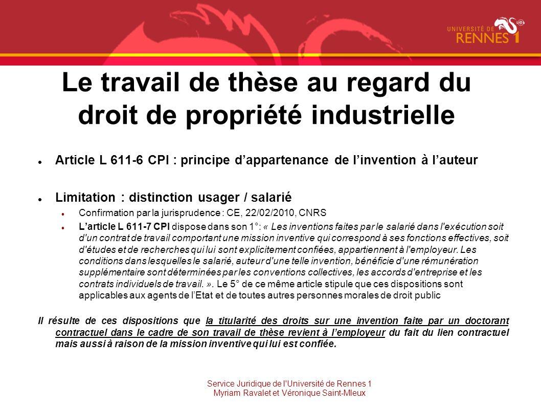 Le travail de thèse au regard du droit de propriété industrielle Article L 611-6 CPI : principe dappartenance de linvention à lauteur Limitation : dis