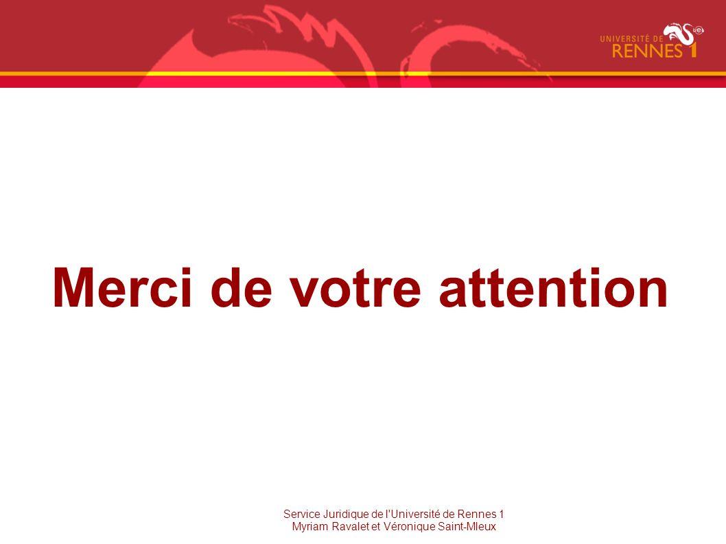 Merci de votre attention Service Juridique de l'Université de Rennes 1 Myriam Ravalet et Véronique Saint-Mleux