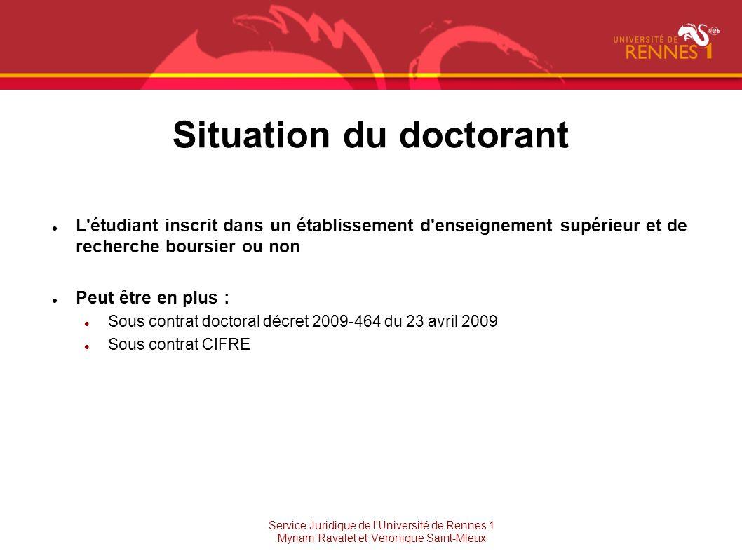 Situation du doctorant L'étudiant inscrit dans un établissement d'enseignement supérieur et de recherche boursier ou non Peut être en plus : Sous cont