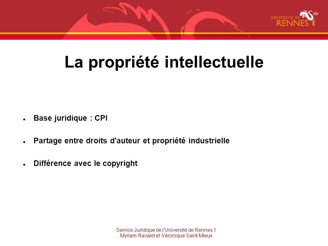La propriété intellectuelle Base juridique : CPI Partage entre droits d'auteur et propriété industrielle Différence avec le copyright Service Juridiqu