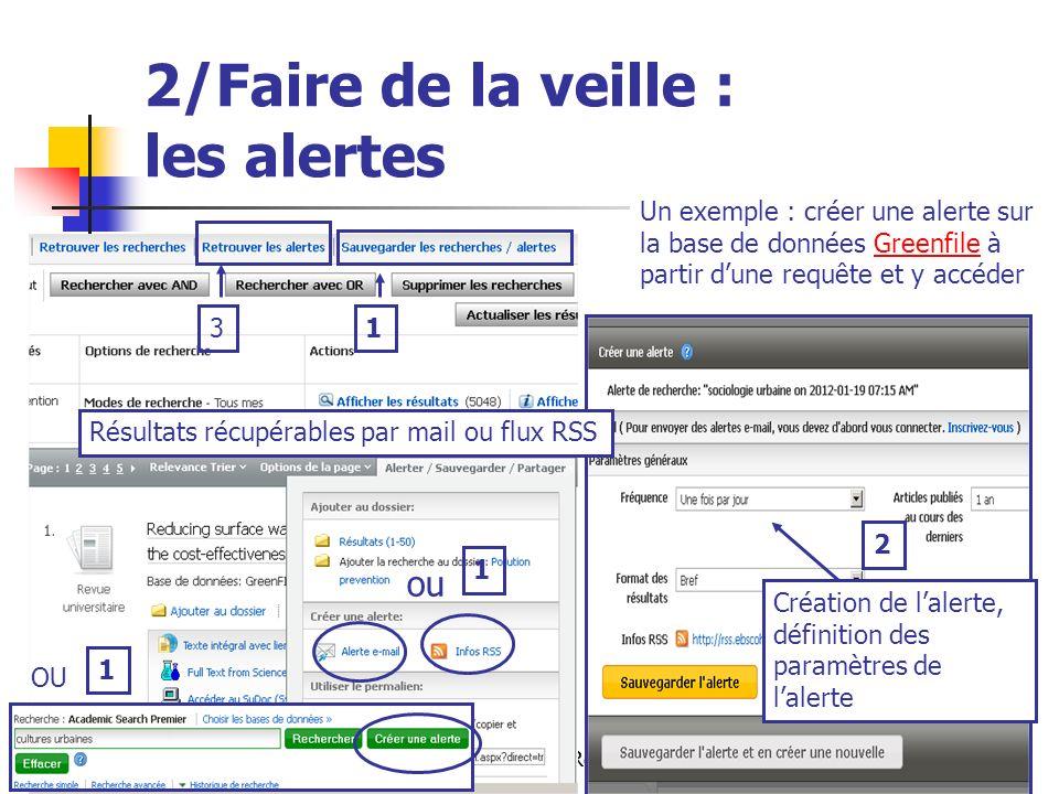 Urfist de Rennes, 201218 2/Faire de la veille : les alertes Un exemple : créer une alerte sur la base de données Greenfile à partir dune requête et y accéderGreenfile OU 2 Création de lalerte, définition des paramètres de lalerte Résultats récupérables par mail ou flux RSS 1 ou 3 1 1