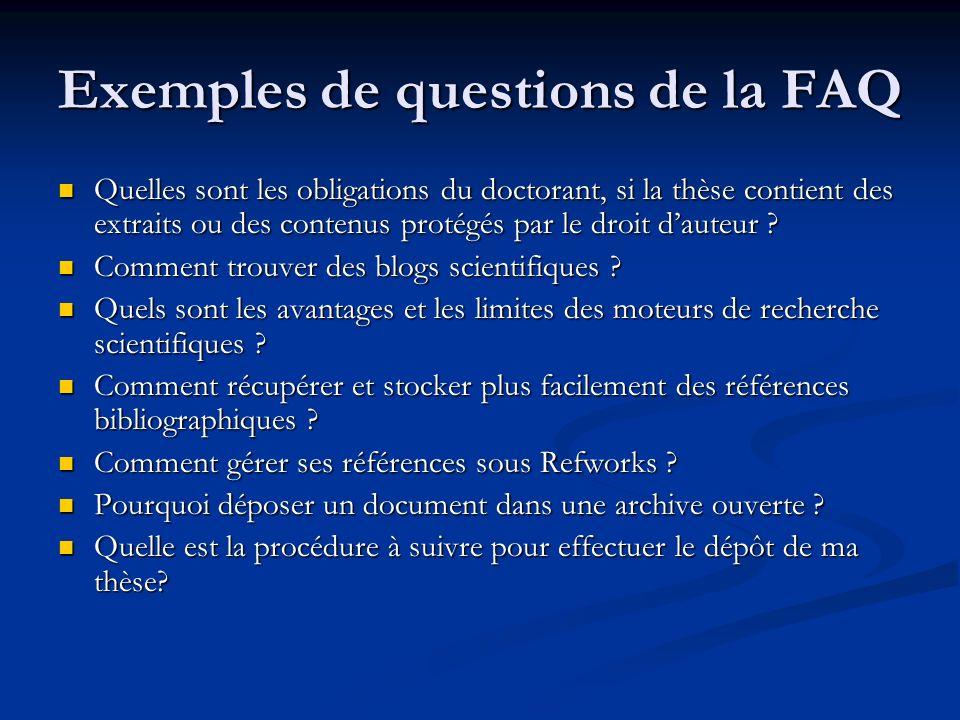 Exemples de questions de la FAQ Quelles sont les obligations du doctorant, si la thèse contient des extraits ou des contenus protégés par le droit dau