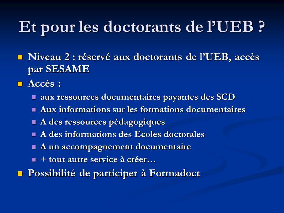 Et pour les doctorants de lUEB ? Niveau 2 : réservé aux doctorants de lUEB, accès par SESAME Niveau 2 : réservé aux doctorants de lUEB, accès par SESA