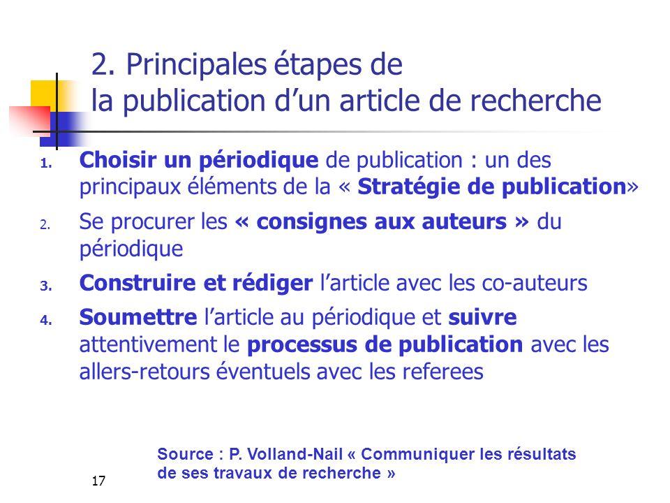 17 2. Principales étapes de la publication dun article de recherche 1. Choisir un périodique de publication : un des principaux éléments de la « Strat
