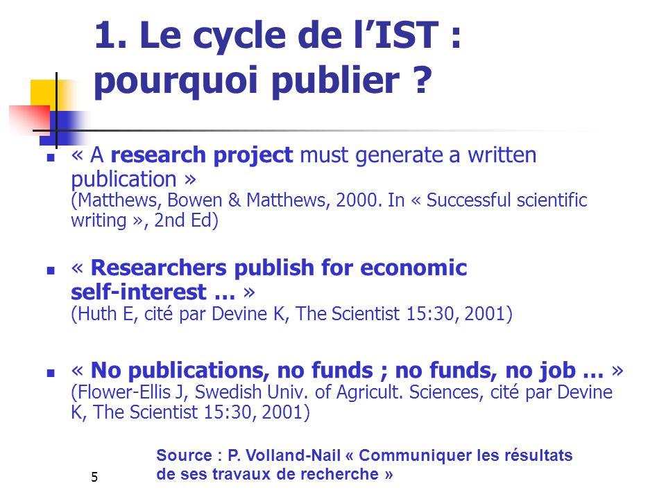 5 1. Le cycle de lIST : pourquoi publier ? « A research project must generate a written publication » (Matthews, Bowen & Matthews, 2000. In « Successf