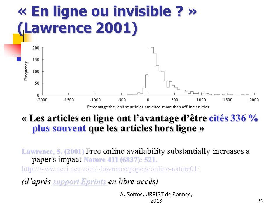 A. Serres, URFIST de Rennes, 2013 53 « En ligne ou invisible ? » (Lawrence 2001) « Les articles en ligne ont lavantage dêtre cités 336 % plus souvent