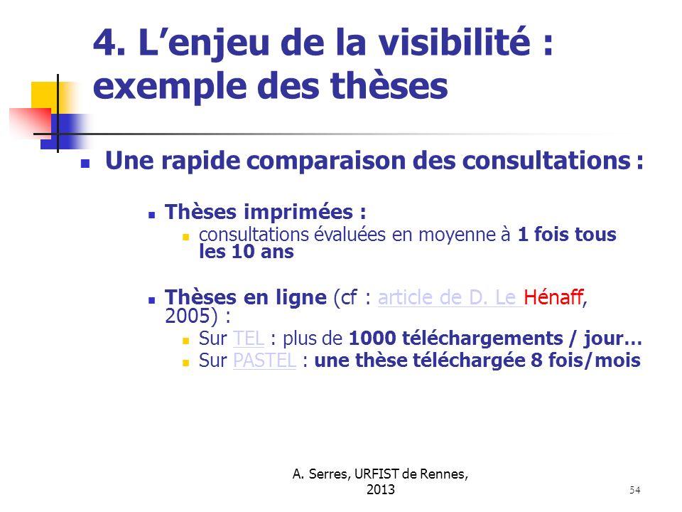 A. Serres, URFIST de Rennes, 2013 54 4. Lenjeu de la visibilité : exemple des thèses Une rapide comparaison des consultations : Thèses imprimées : con