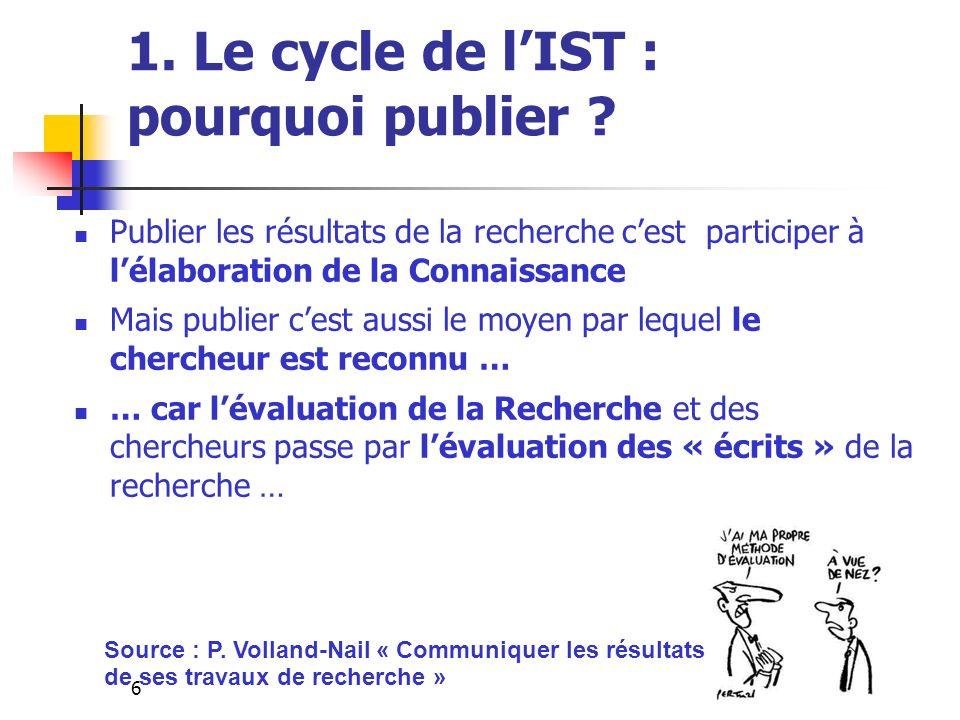 6 1. Le cycle de lIST : pourquoi publier ? Publier les résultats de la recherche cest participer à lélaboration de la Connaissance Mais publier cest a
