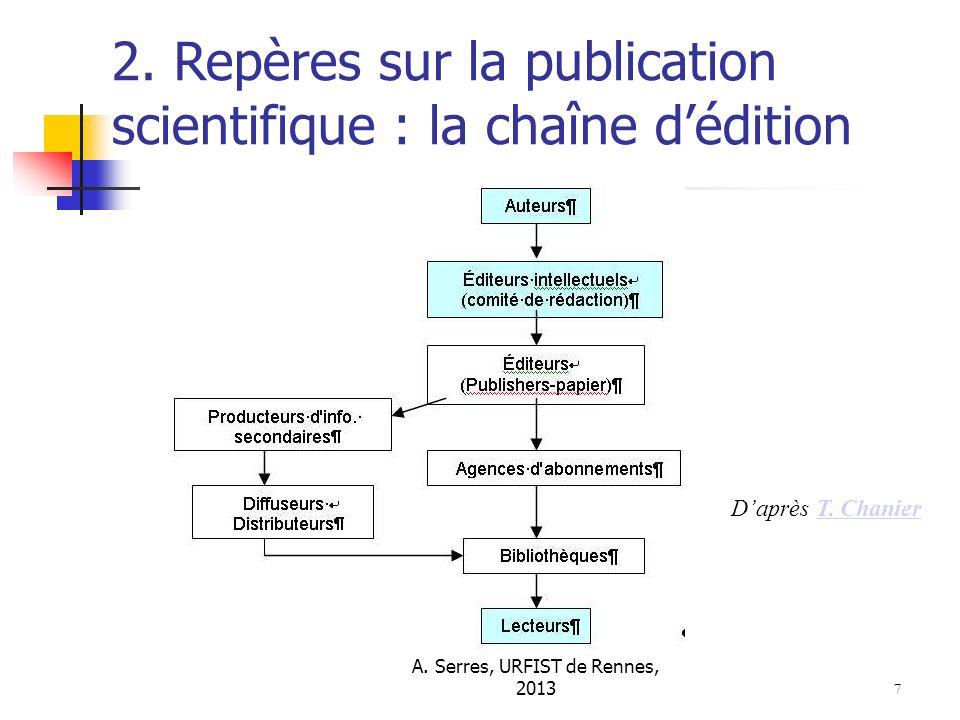 A. Serres, URFIST de Rennes, 2013 7 2. Repères sur la publication scientifique : la chaîne dédition Daprès T. ChanierT. Chanier