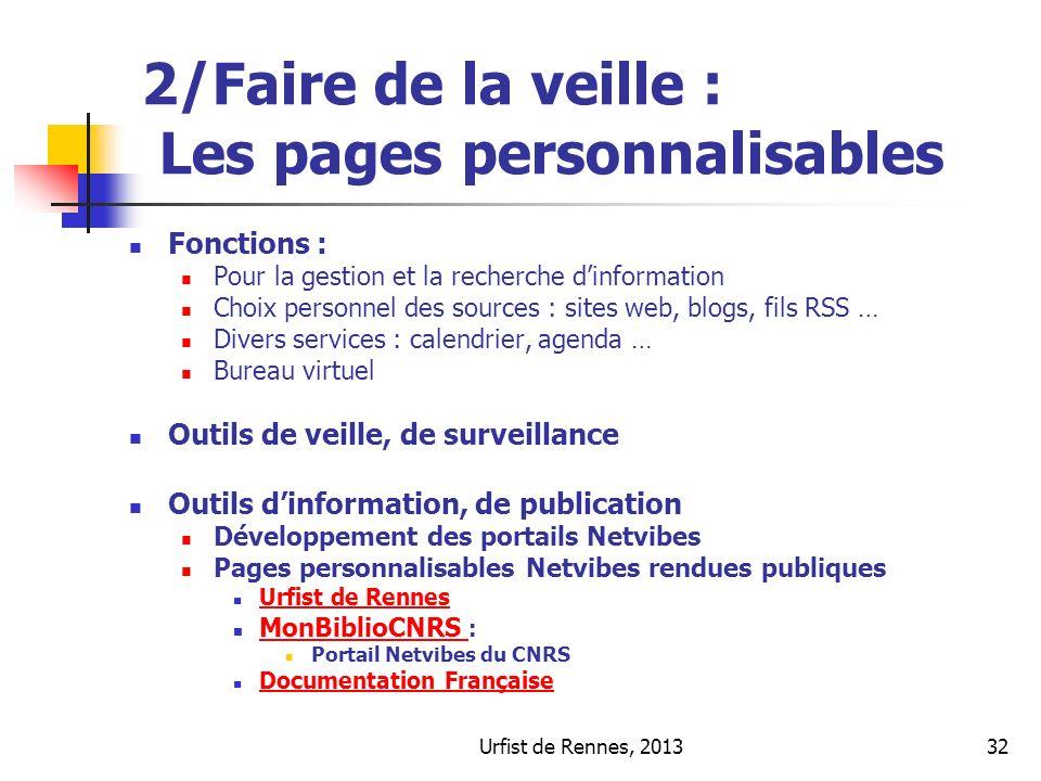 Urfist de Rennes, 201332 2/Faire de la veille : Les pages personnalisables Fonctions : Pour la gestion et la recherche dinformation Choix personnel de