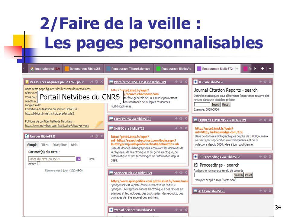 Urfist de Rennes, 201334 2/Faire de la veille : Les pages personnalisables Portail Netvibes du CNRS
