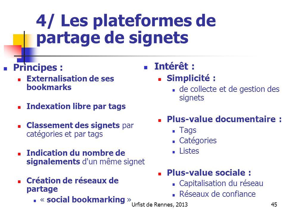Urfist de Rennes, 201345 4/ Les plateformes de partage de signets Principes : Externalisation de ses bookmarks Indexation libre par tags Classement de