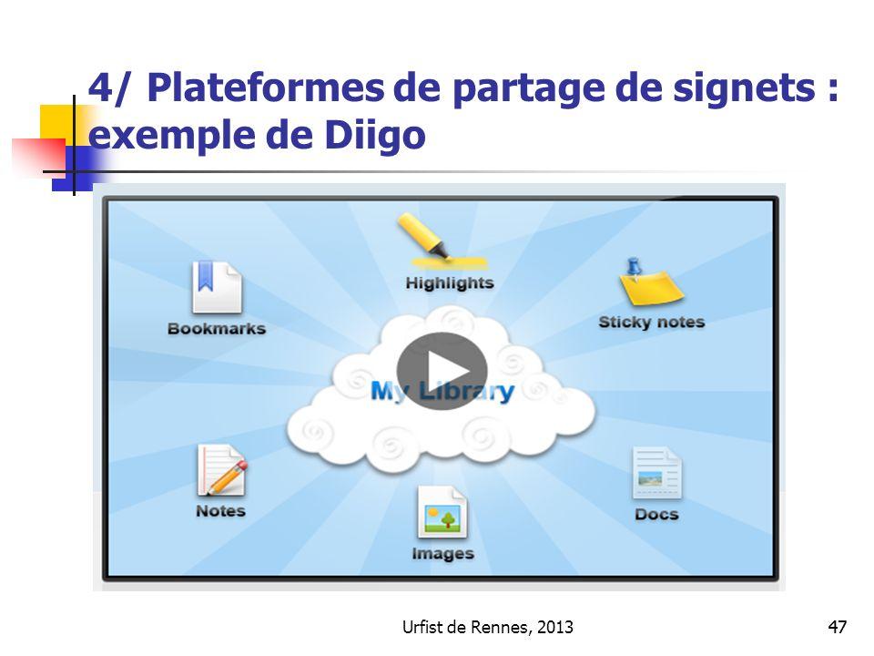 Urfist de Rennes, 201347 4/ Plateformes de partage de signets : exemple de Diigo