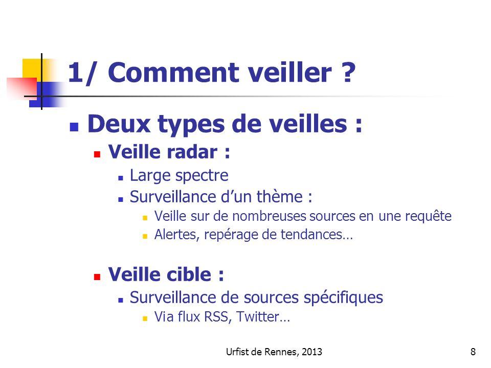 Urfist de Rennes, 20138 1/ Comment veiller ? Deux types de veilles : Veille radar : Large spectre Surveillance dun thème : Veille sur de nombreuses so