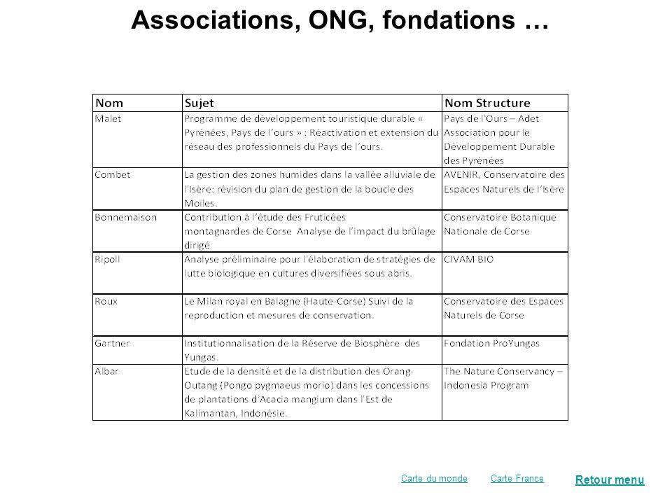 Collectivités territoriales, organismes publics de gestion … Retour menu Carte FranceCarte du monde