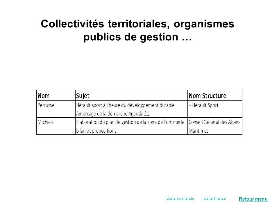 Organismes publics de recherche, instituts publics de gestion … Retour menu Carte FranceCarte du monde