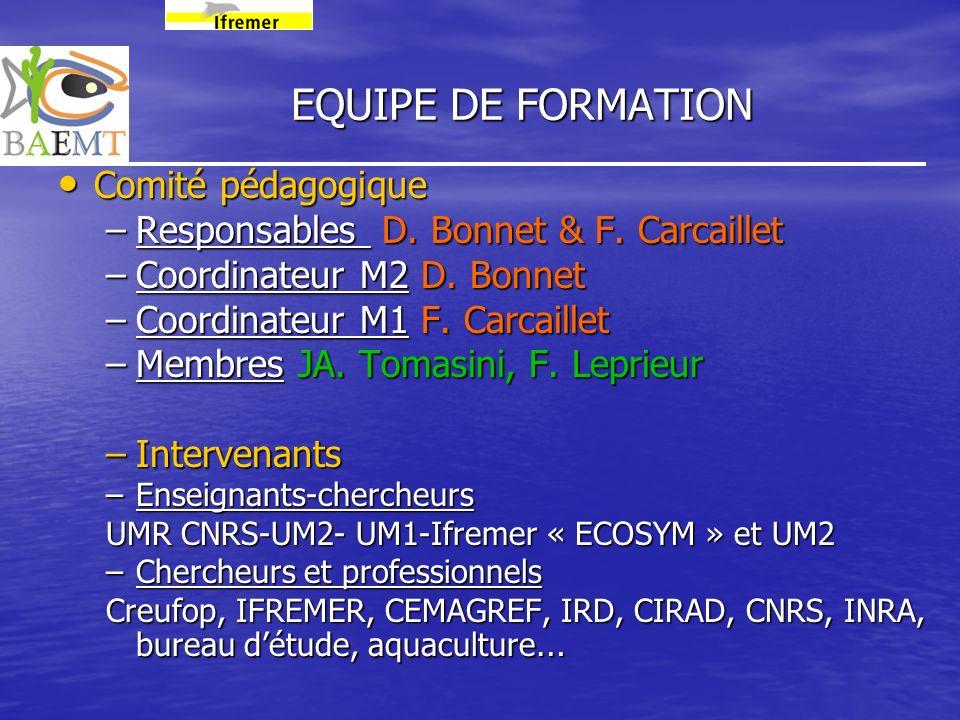 EQUIPE DE FORMATION Comité pédagogique Comité pédagogique –Responsables D. Bonnet & F. Carcaillet –Coordinateur M2 D. Bonnet –Coordinateur M1 F. Carca