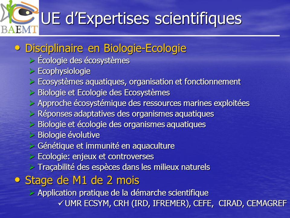 UE dExpertises scientifiques Disciplinaire en Biologie-Ecologie Disciplinaire en Biologie-Ecologie Écologie des écosystèmes Écologie des écosystèmes E