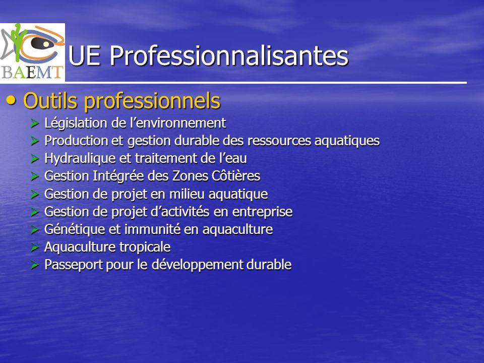 UE Professionnalisantes Outils professionnels Outils professionnels Législation de lenvironnement Législation de lenvironnement Production et gestion