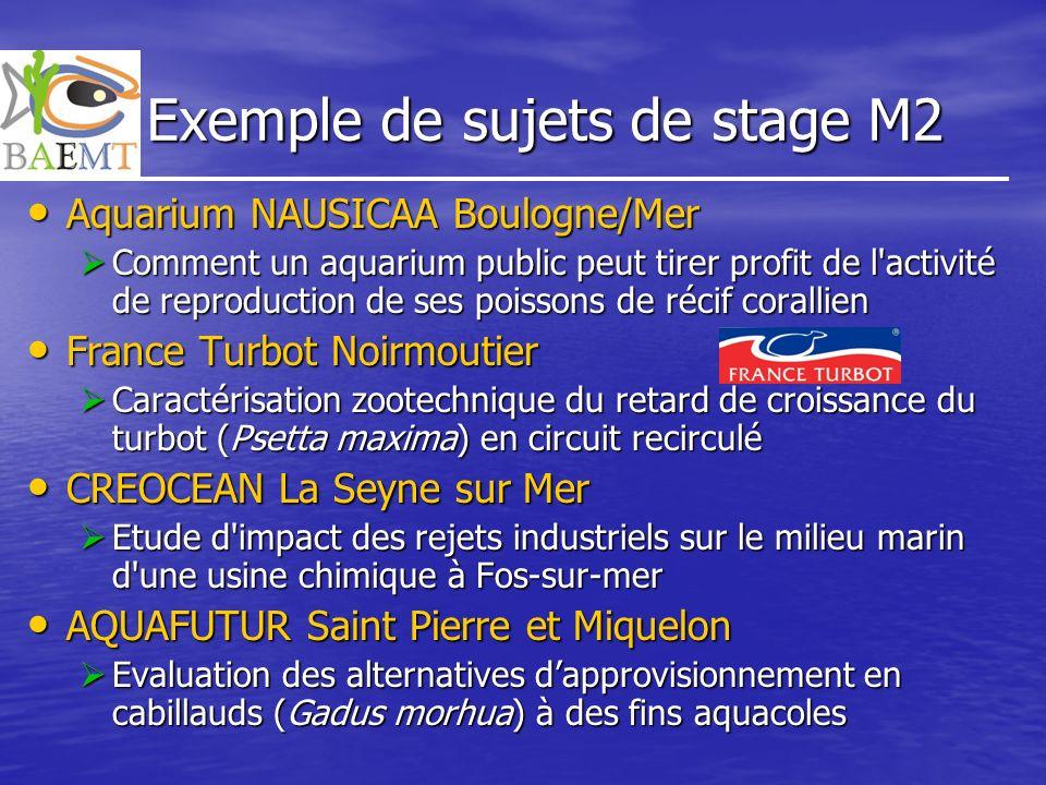 Exemple de sujets de stage M2 Aquarium NAUSICAA Boulogne/Mer Aquarium NAUSICAA Boulogne/Mer Comment un aquarium public peut tirer profit de l'activité