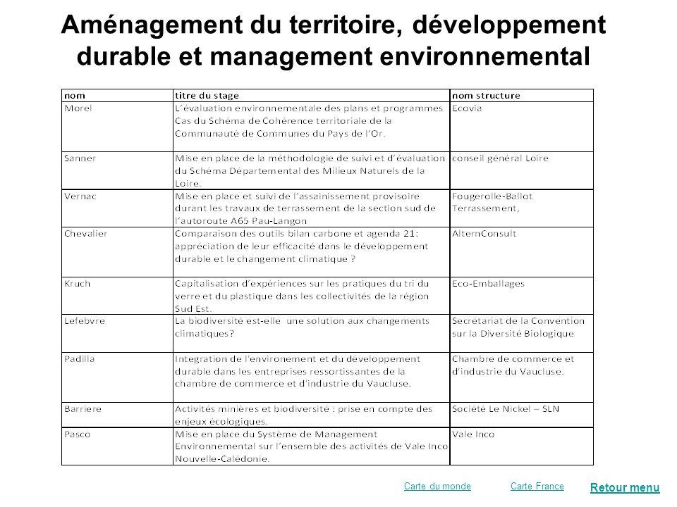 Retour menu Aménagement du territoire, développement durable et management environnemental Carte FranceCarte du monde
