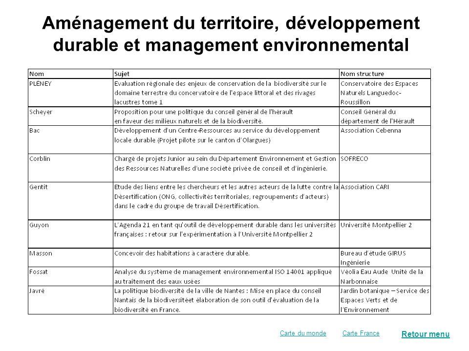 Aménagement du territoire, développement durable et management environnemental Retour menu Carte FranceCarte du monde