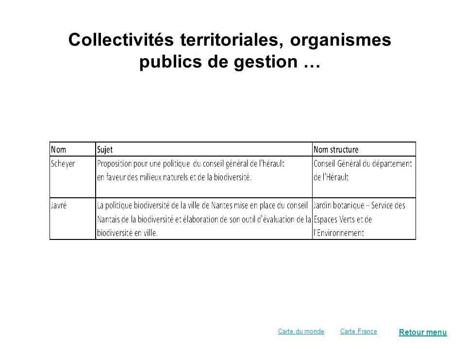 Retour menu Collectivités territoriales, organismes publics de gestion … Carte FranceCarte du monde