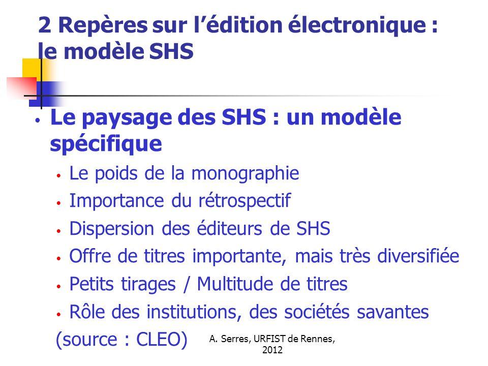 A. Serres, URFIST de Rennes, 2012 2 Repères sur lédition électronique : le modèle SHS Le paysage des SHS : un modèle spécifique Le poids de la monogra
