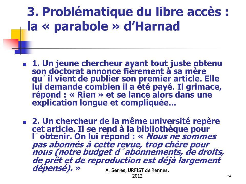A. Serres, URFIST de Rennes, 2012 24 3. Problématique du libre accès : la « parabole » dHarnad 1.