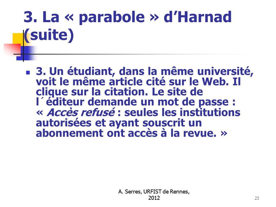 A. Serres, URFIST de Rennes, 2012 25 3. La « parabole » dHarnad (suite) 3.