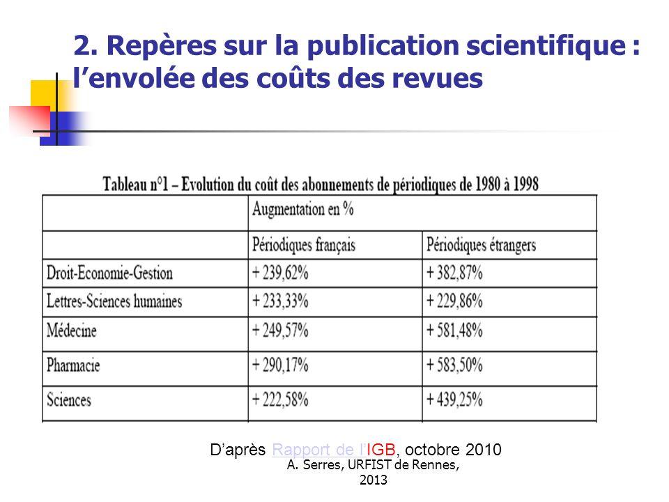 A. Serres, URFIST de Rennes, 2013 2. Repères sur la publication scientifique : lenvolée des coûts des revues Daprès Rapport de lIGB, octobre 2010Rappo