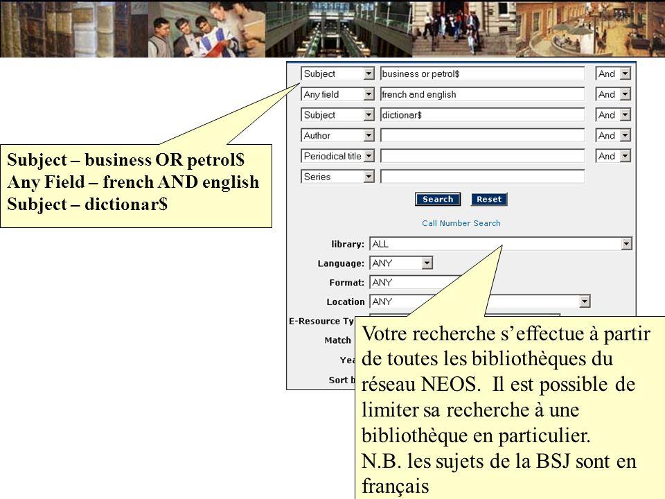 Votre recherche seffectue à partir de toutes les bibliothèques du réseau NEOS. Il est possible de limiter sa recherche à une bibliothèque en particuli