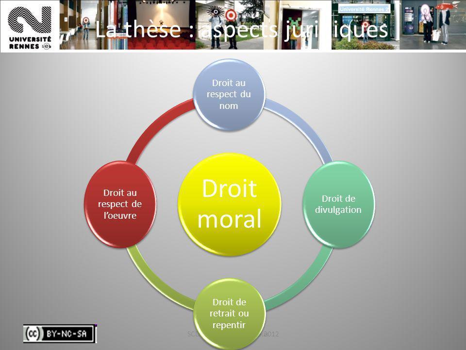 SCD - Laurence Leroux - 201221 La thèse : aspects juridiques SCD - Laurence Leroux21 Droit moral Droit au respect du nom Droit de divulgation Droit de