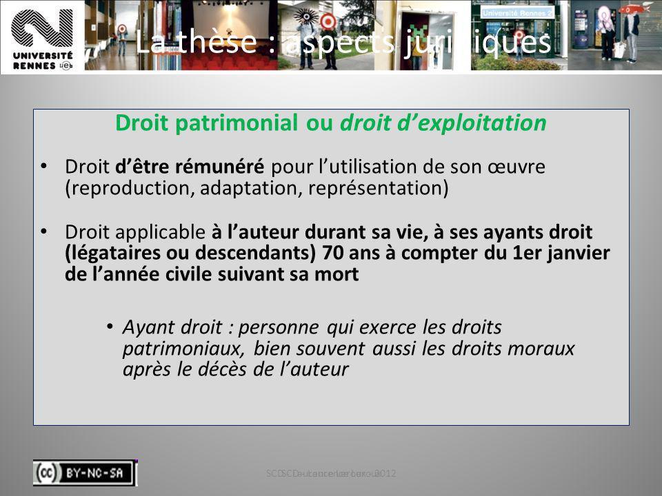 SCD - Laurence Leroux - 201232 La thèse : aspects juridiques Droit patrimonial ou droit dexploitation Droit dêtre rémunéré pour lutilisation de son œu