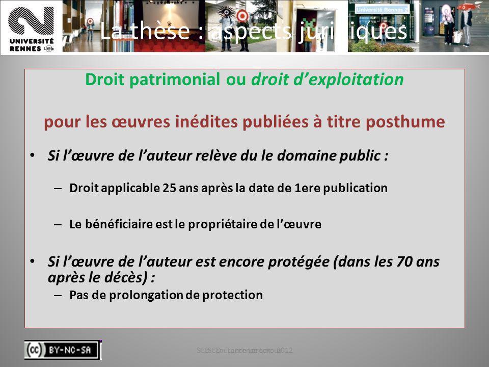 SCD - Laurence Leroux - 201235 La thèse : aspects juridiques Droit patrimonial ou droit dexploitation pour les œuvres inédites publiées à titre posthu