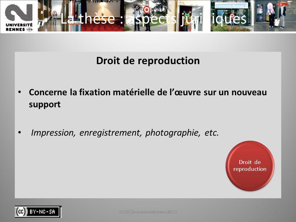 SCD - Laurence Leroux - 201239 La thèse : aspects juridiques Droit de reproduction Concerne la fixation matérielle de lœuvre sur un nouveau support Im