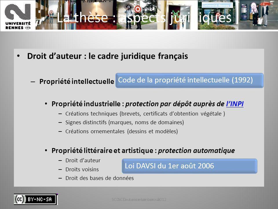 SCD - Laurence Leroux - 20124 La thèse : aspects juridiques Droit dauteur : le cadre juridique français – Propriété intellectuelle Propriété industrie