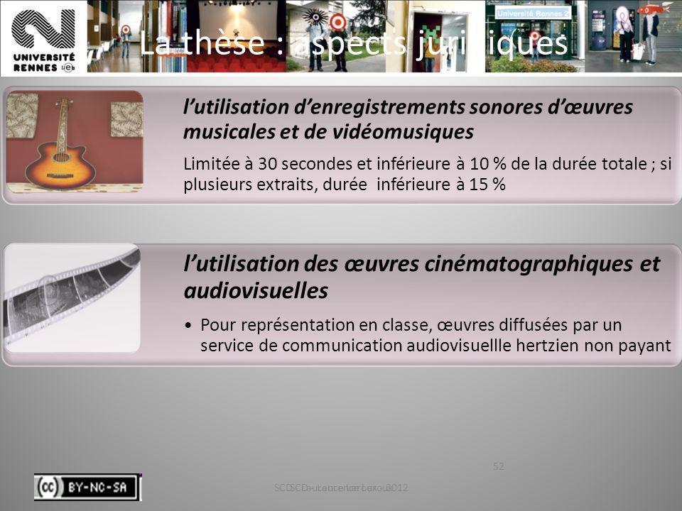 SCD - Laurence Leroux - 201252 La thèse : aspects juridiques SCD - Laurence Leroux 52 lutilisation des œuvres cinématographiques et audiovisuelles Pou