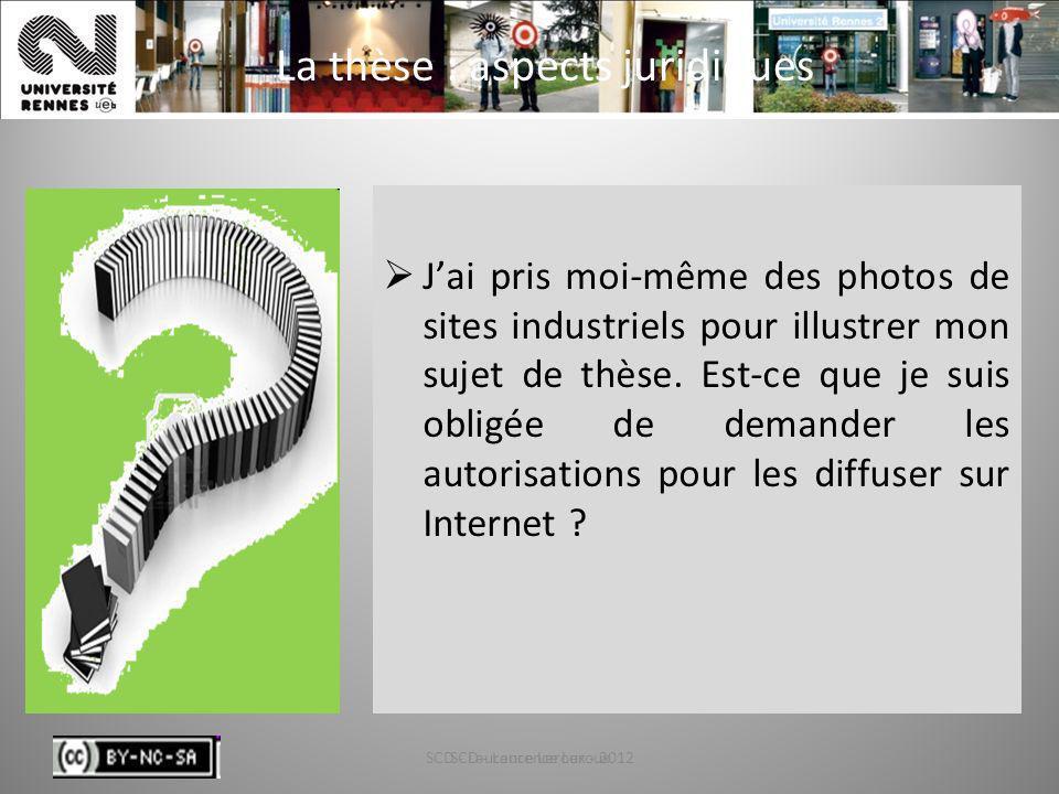 SCD - Laurence Leroux - 201275 La thèse : aspects juridiques Jai pris moi-même des photos de sites industriels pour illustrer mon sujet de thèse. Est-