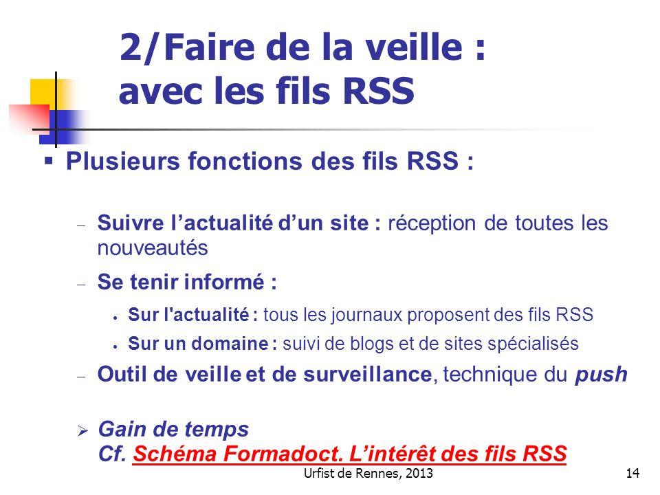 Urfist de Rennes, 201314 2/Faire de la veille : avec les fils RSS Plusieurs fonctions des fils RSS : Suivre lactualité dun site : réception de toutes