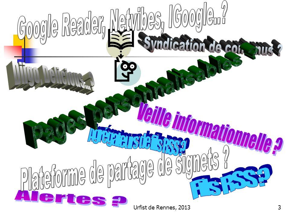 Urfist de Rennes, 201354 Sur la page web à bookmarquer, bouton Bookmark et remplir la fenêtre : Possibilité de décrire la ressource : titre précis, résumé ou extraits, nom de lauteur… Indexer la ressource par des mots-clés libres Possibilité de rendre privée la consultation du bookmark Signalement du signet comme « non-lu » Chargement de la page sur Diigo Possibilité de tweeter le signet Ajouter le signet dans une liste Partager le signet dans un groupe 4/ Exemple de Diigo : comment marquer, taguer des ressources