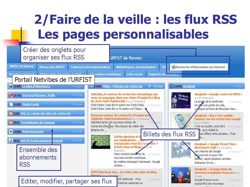 Urfist de Rennes, 201335Urfist de Rennes, 201335 2/Faire de la veille : les flux RSS Les pages personnalisables Ensemble des abonnements RSS Billets d