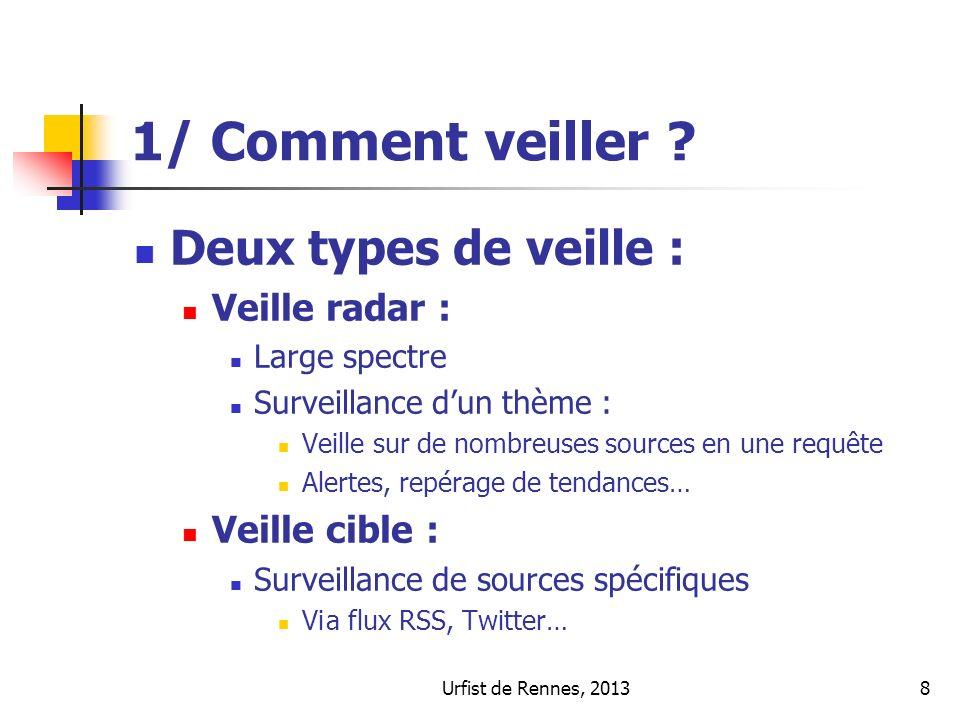 Urfist de Rennes, 20138 1/ Comment veiller ? Deux types de veille : Veille radar : Large spectre Surveillance dun thème : Veille sur de nombreuses sou