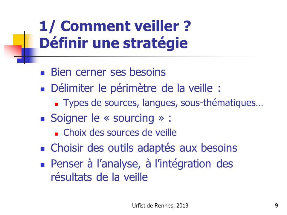 Urfist de Rennes, 20139 1/ Comment veiller ? Définir une stratégie Bien cerner ses besoins Délimiter le périmètre de la veille : Types de sources, lan